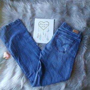 Levi's 524 Distressed Super Low Light Wash Jeans
